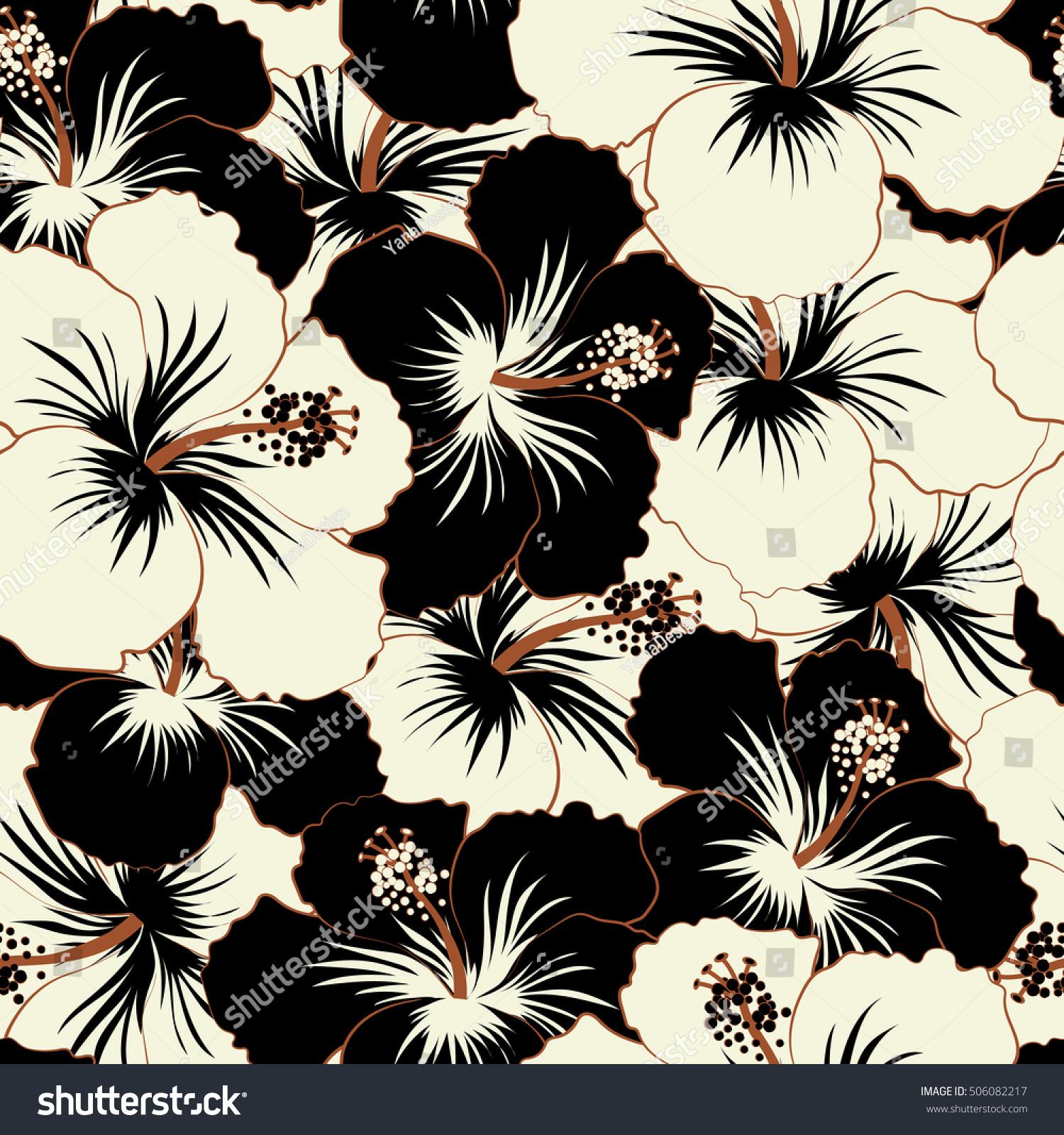 Cute pattern black white hibiscus flowers stock illustration cute pattern in black and white hibiscus flowers small colorful flowers motley spring izmirmasajfo