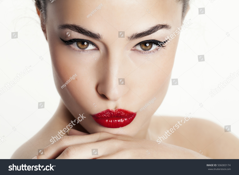 Woman Beauty Portrait Red Lips Black Stock Photo 506083174 ...