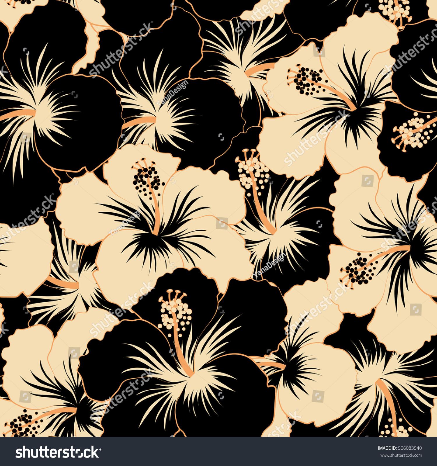Beige black hibiscus flowers seamless pattern stock illustration beige and black hibiscus flowers seamless pattern izmirmasajfo