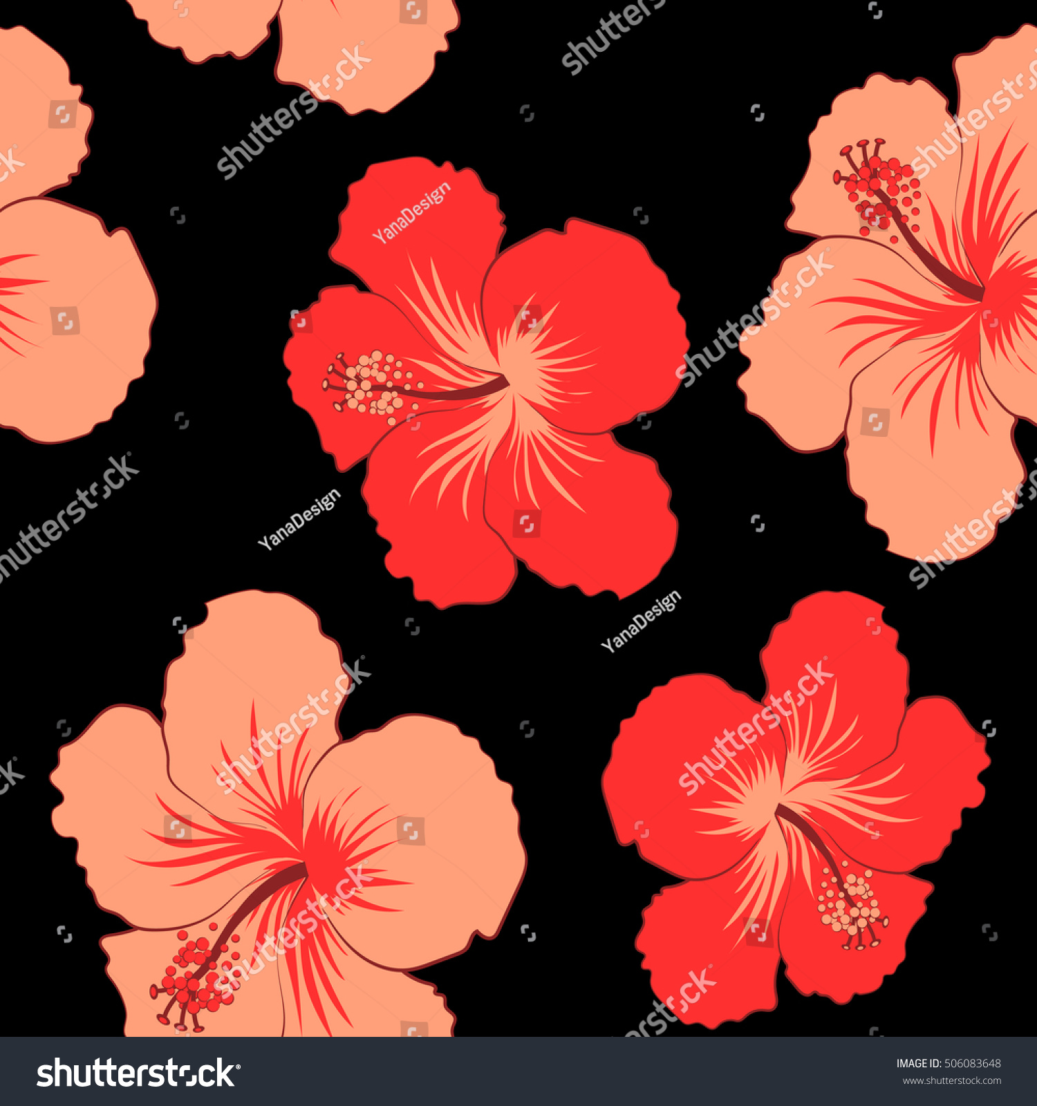 Seamless Pattern Tropical Hibiscus Flowers Red Stock Illustration ...