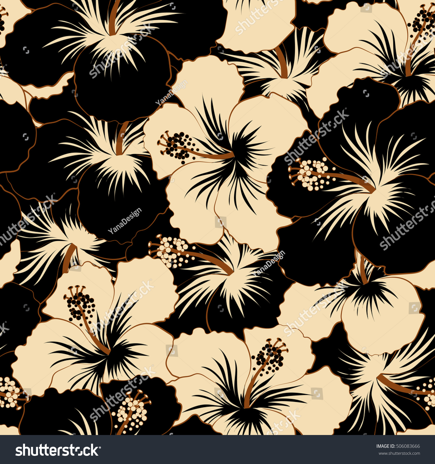 Hand painted pattern in beige and black colors with tropic pattern in beige and black colors with tropic summertime motif may be used as texture wrapping paper textile design seamless pattern of tropical hibiscus izmirmasajfo