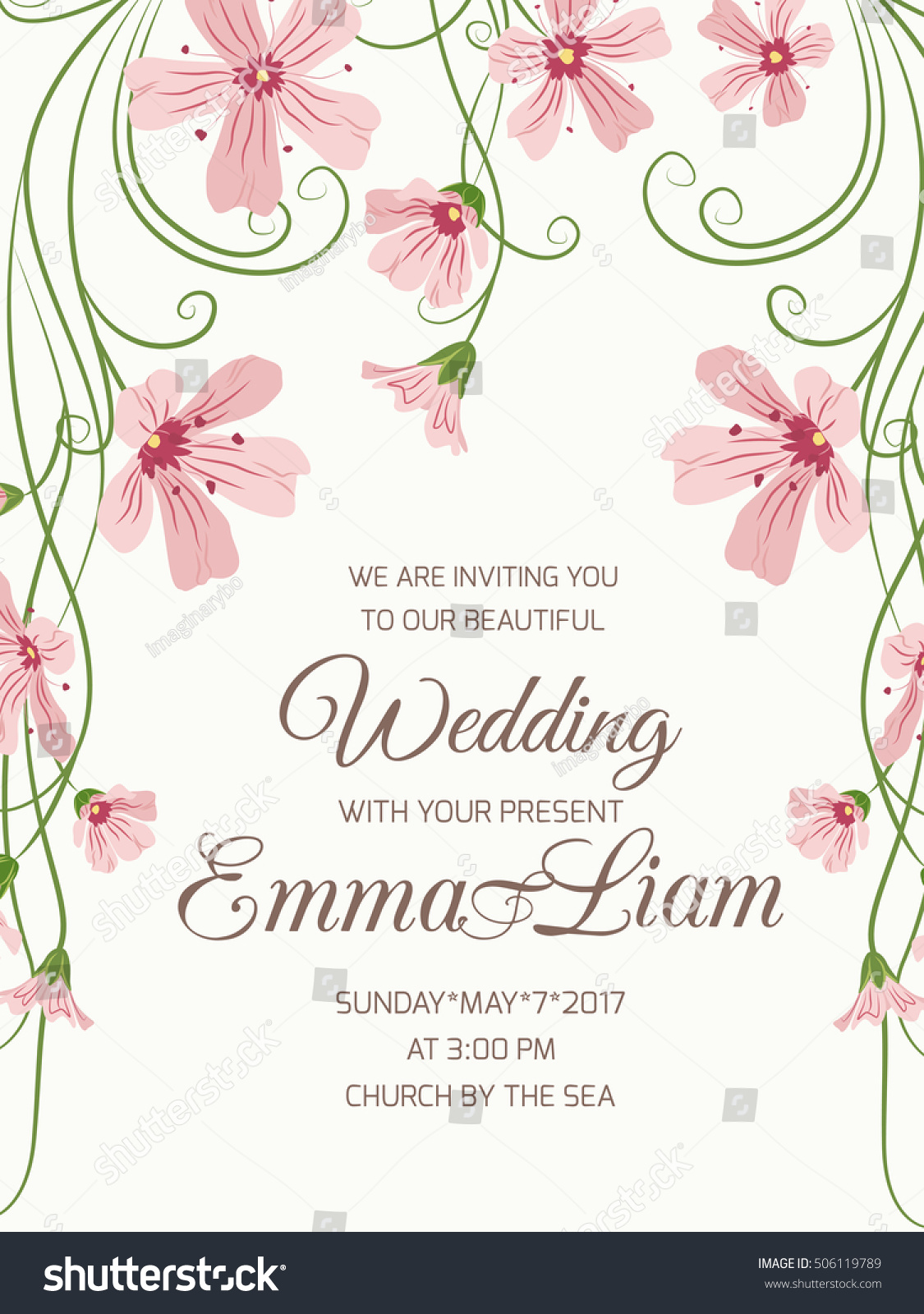 Wedding Ceremony Invitation Card Floral Template Stock Vector (2018 ...