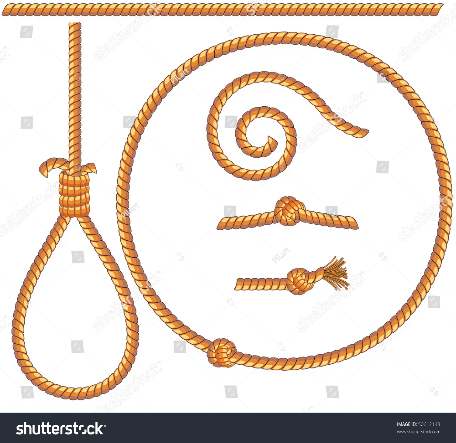 Ropes Set -Vector Isolated Design Elements: Gibbet,Knot,Loop,Spiral - 50612143 : Shutterstock