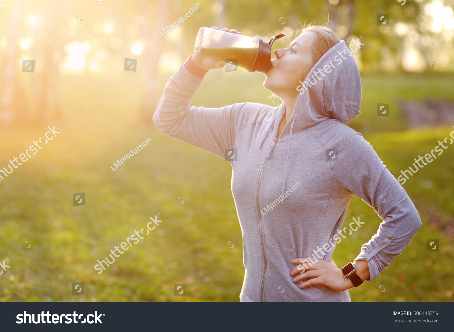 Woman After Workout Drink Detox Smoothie Stock Photo 506143759 ...