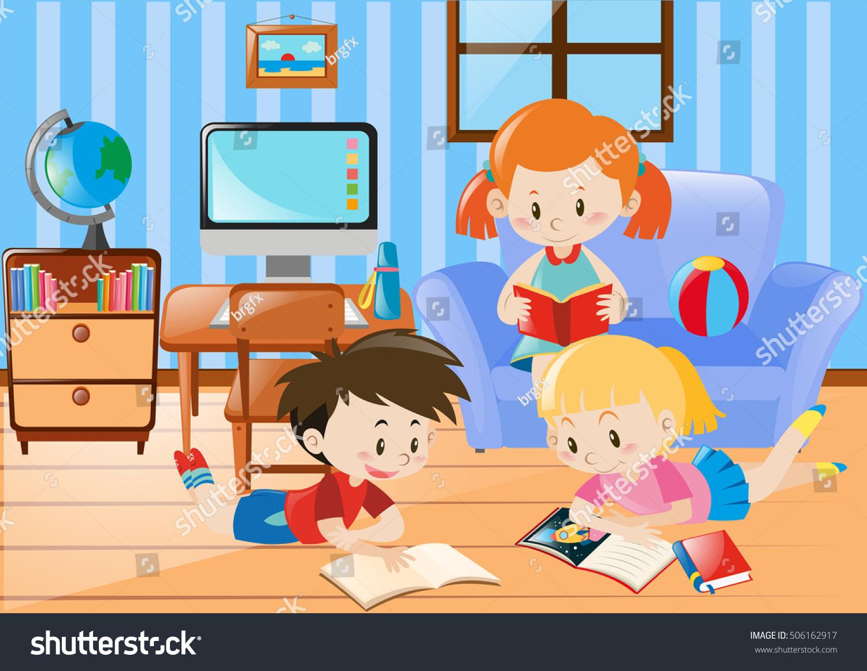 Three Kids Reading In Living Room Illustration