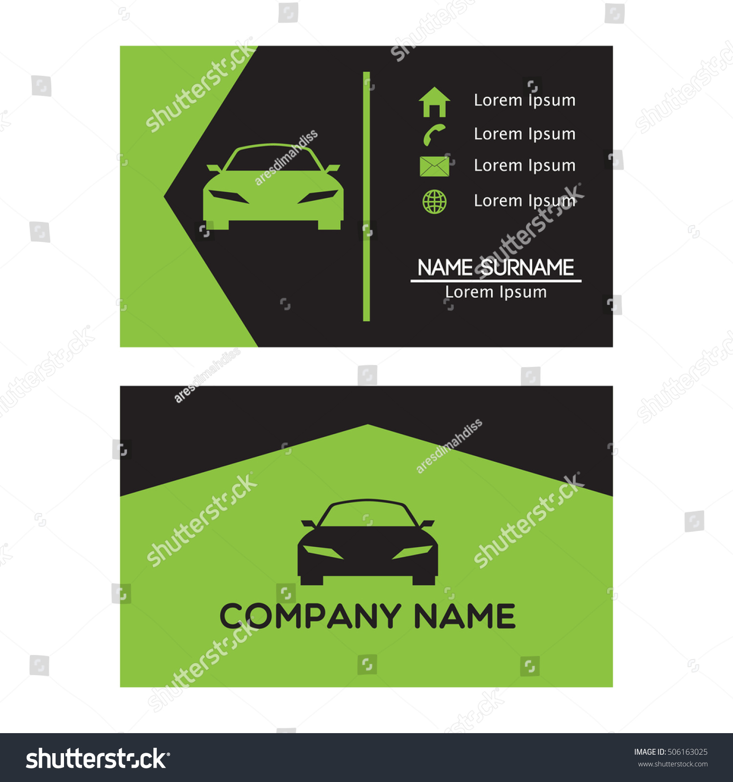 auto car business card design template stock vector
