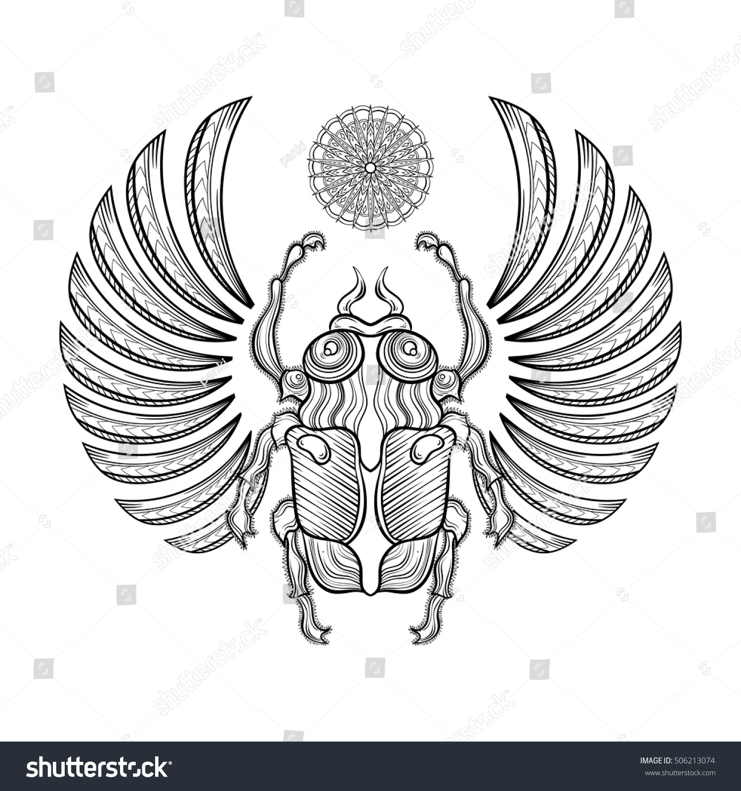 Hand Drawn Vector Egyptian Scarab Beetle Stock Vector Royalty Free
