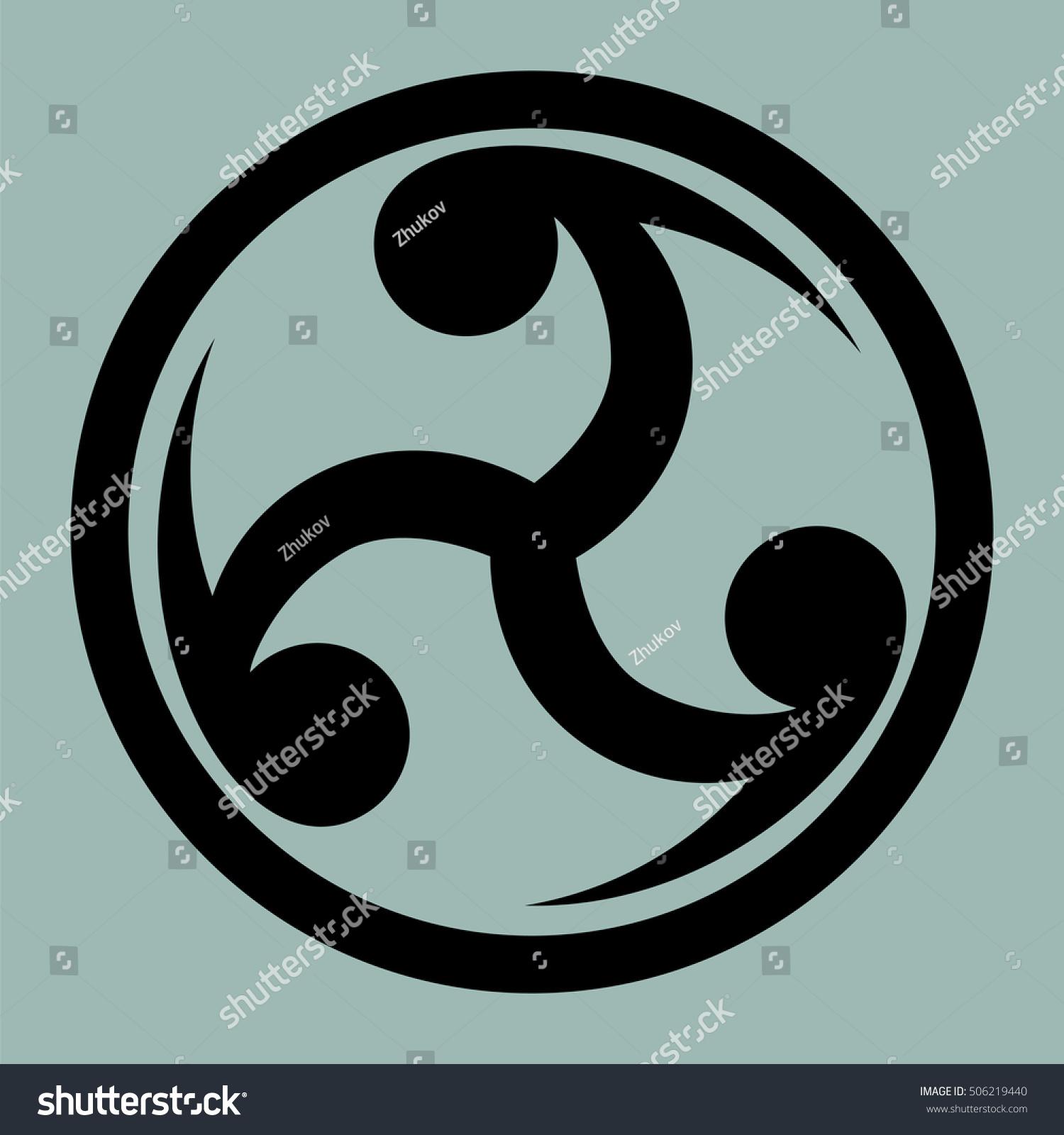 Mitsu Tomoe Japanese Symbol Visual Representation Stock Illustration