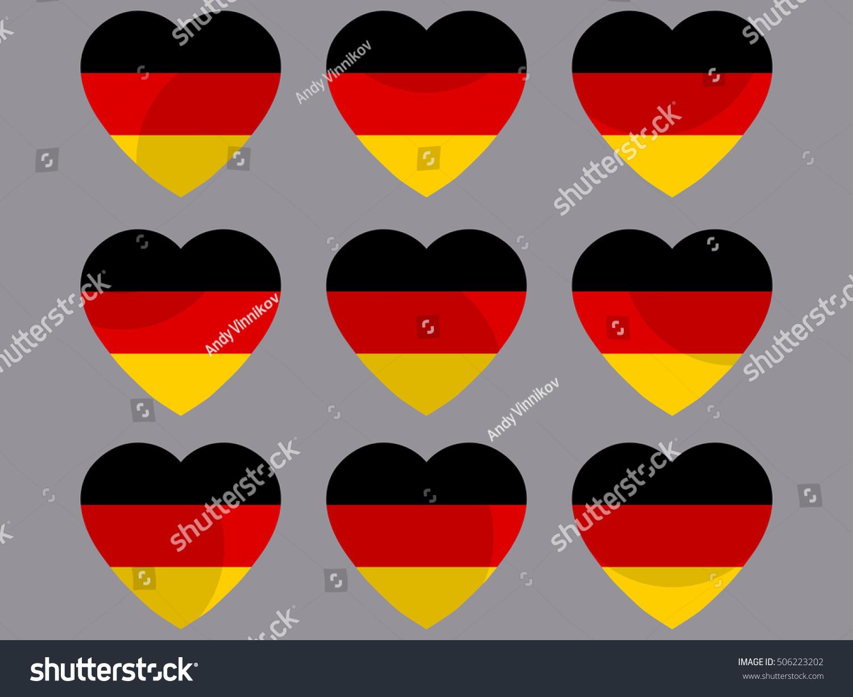 german flag heart collection hearts german stock vector 506223202