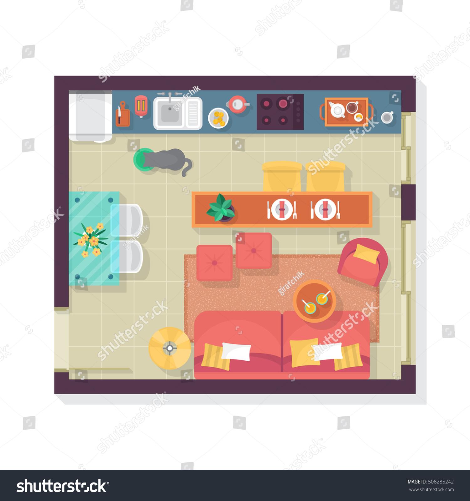 Kitchen Set Top View: Living Room Kitchen Floor Plan Top Stock Vector 506285242