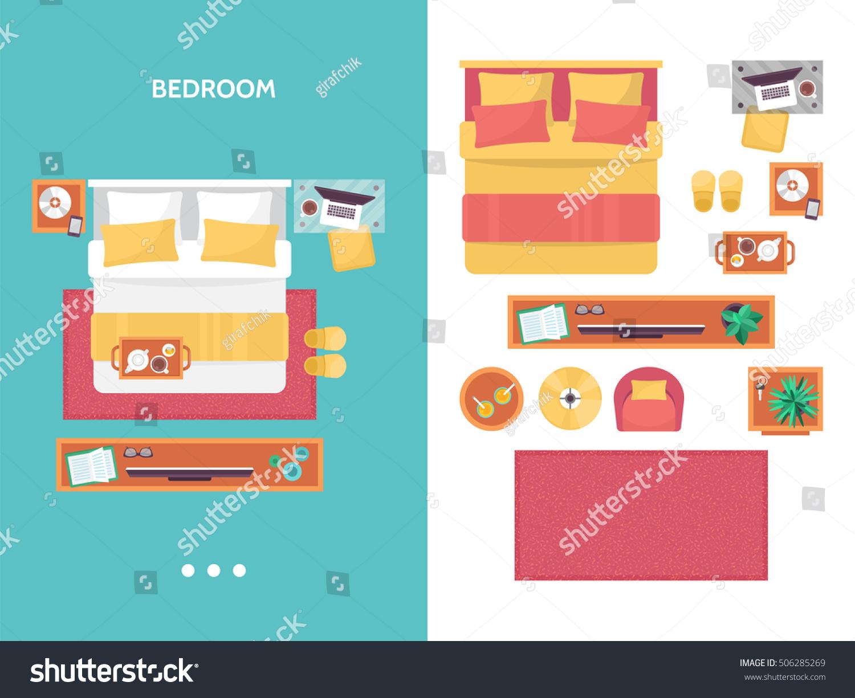 Bedroom Interior Design Set Furniture Vector ~ Bedroom floor plan top view furniture stock vector