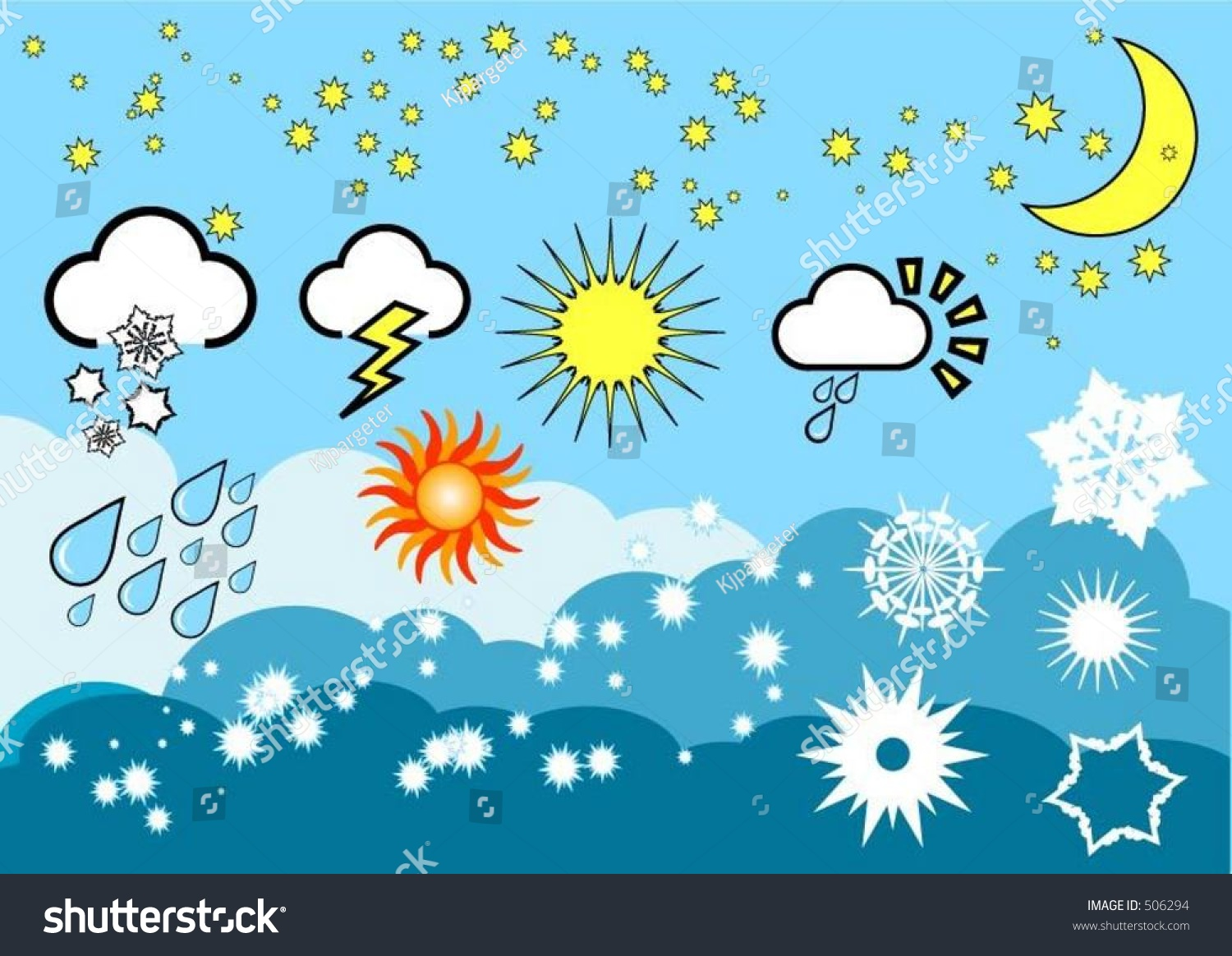 Weather Elements Vector Stock Vector 506294 - Shutterstock