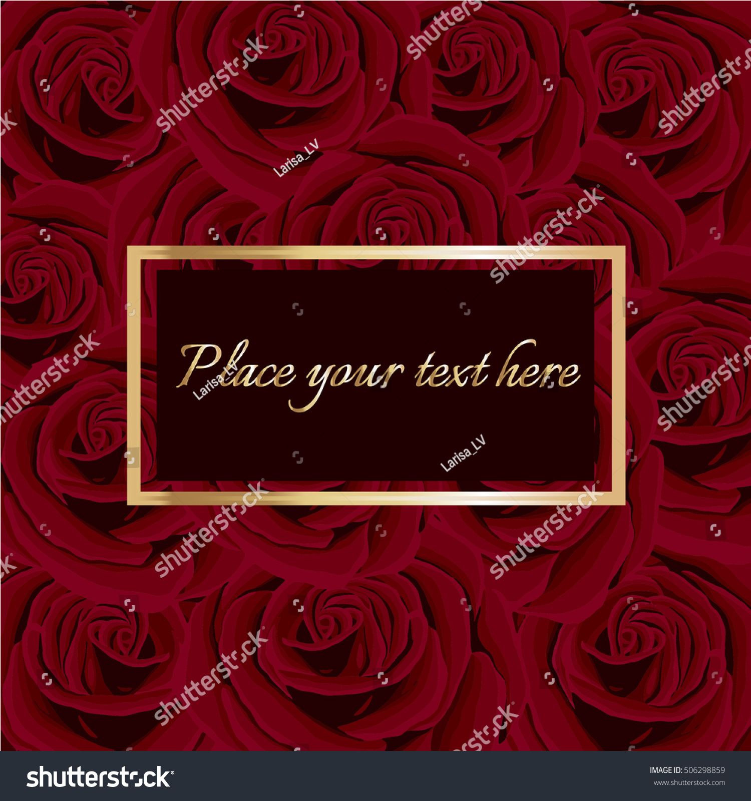 Romantic Wedding Invitation Red Roses Background Golden Stock Vector ...