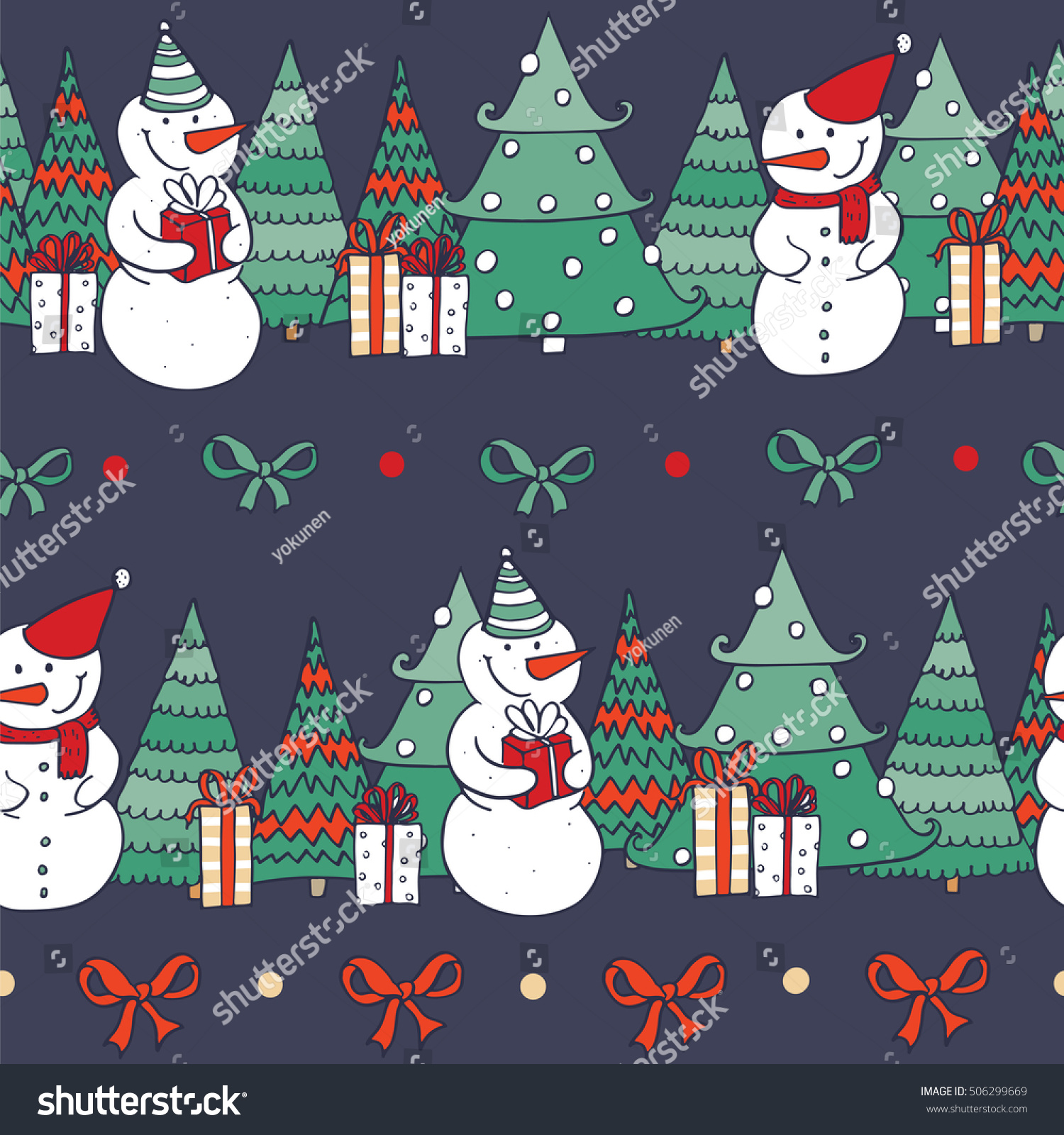 Seamless Christmas Pattern Hand Drawn Snowman Stock Vector Royalty