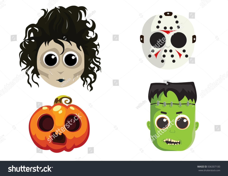Cute Halloween Masks Stock Vector 506307100 - Shutterstock
