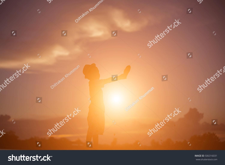Silhouette Happy Children Happy Time Sunset Stock Photo ...