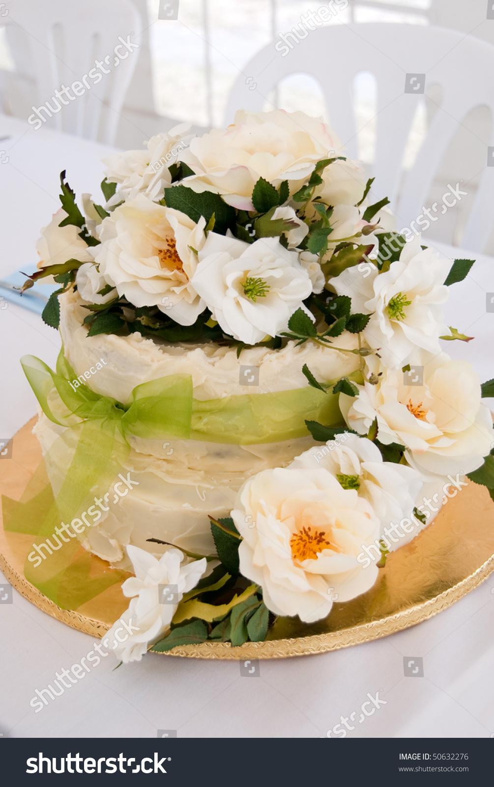 Wedding Cake Fresh Flowers Stock Photo (Royalty Free) 50632276 ...