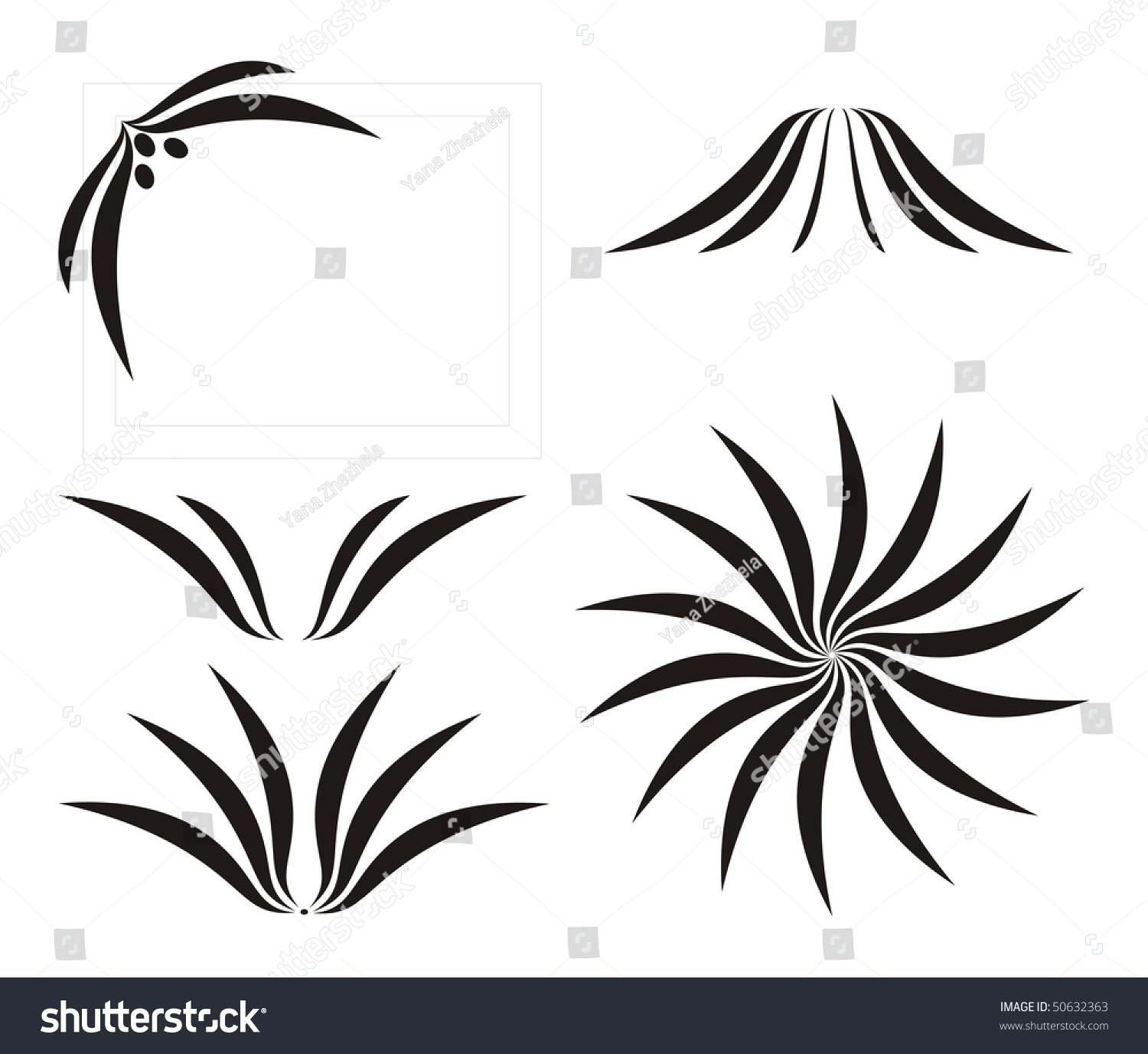 Abstract flower calligraphy decor vector illustration