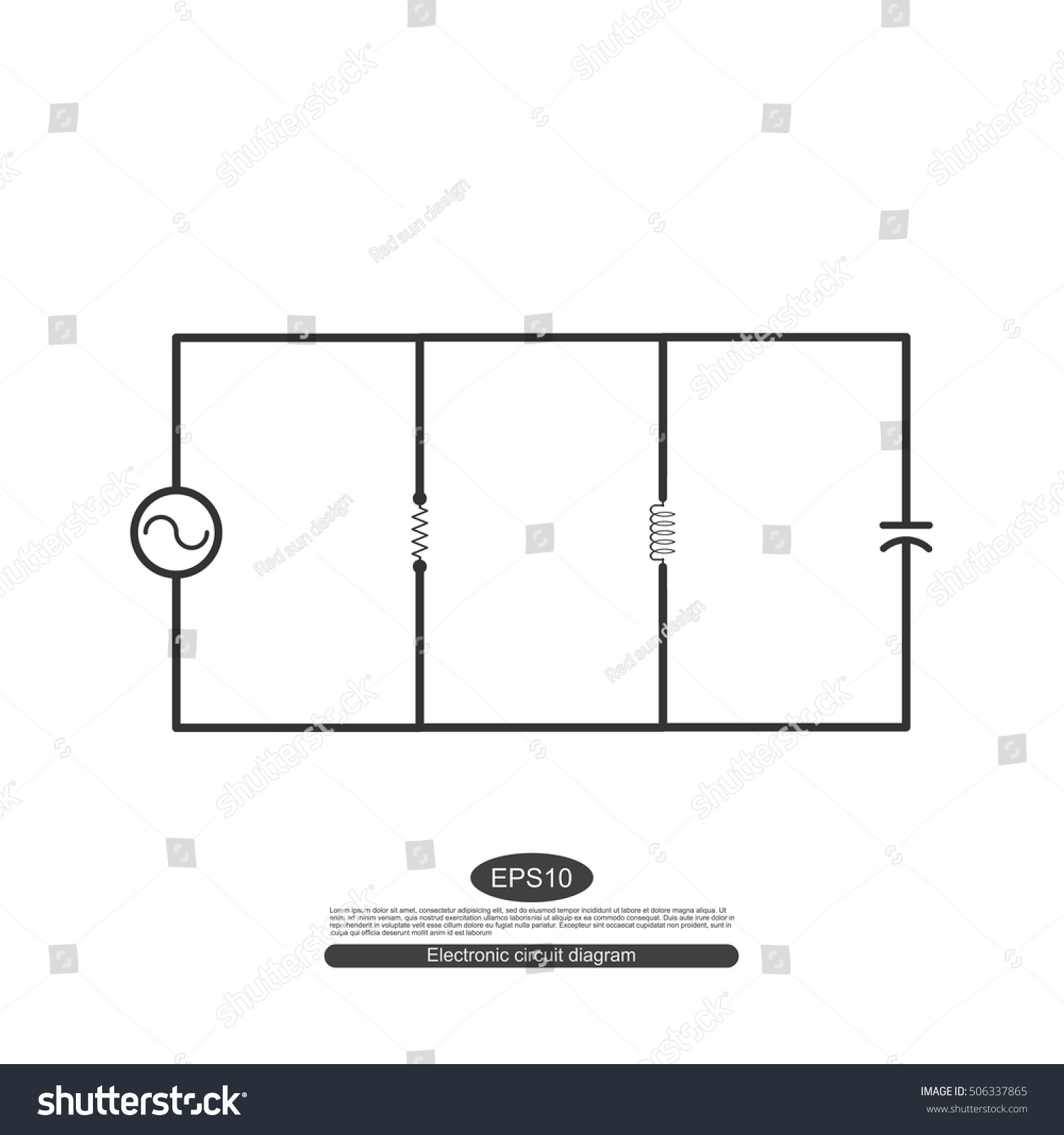 Electronic Symbols Learning Basic Electrical Circuits Stock Vector Electricity And For The Parallel Circuit Consists Of A Source