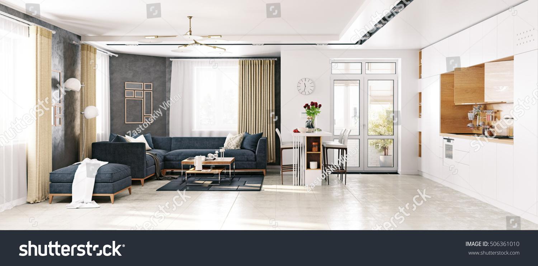 Modern Apartment Living Room Kitchen 3 D Stock Illustration ...