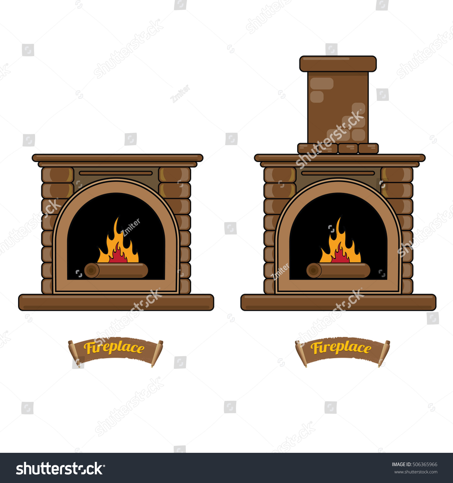 fireplace icon set isolated on white stock vector 506365966