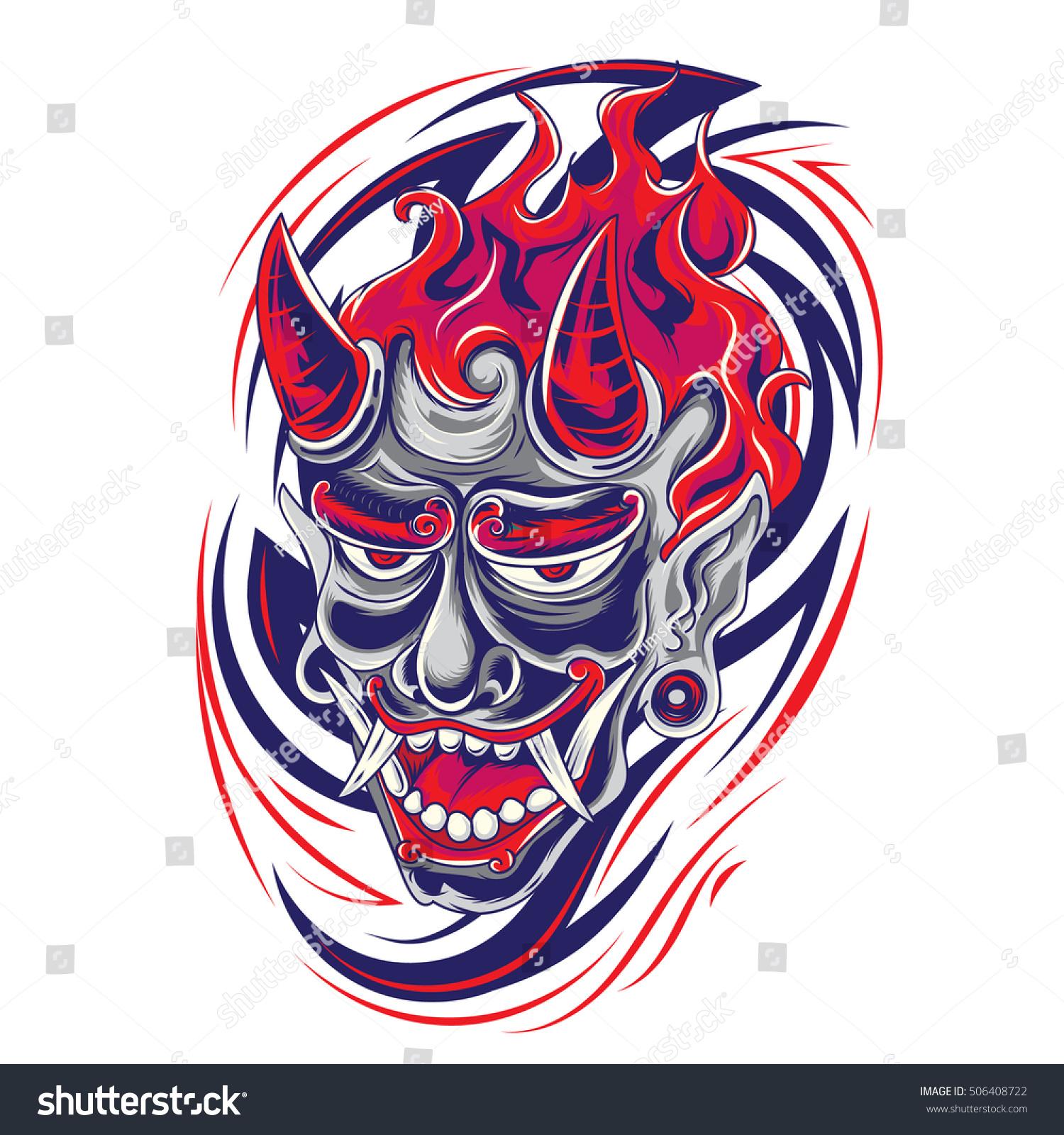 japanese demon face dagger tribal tattoo stock vector 506408722 shutterstock. Black Bedroom Furniture Sets. Home Design Ideas