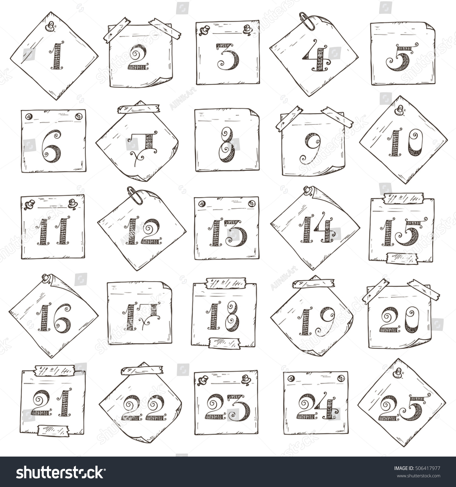 Christmas Advent Calendar Sticky Notes Numbers Stock Vector Royalty