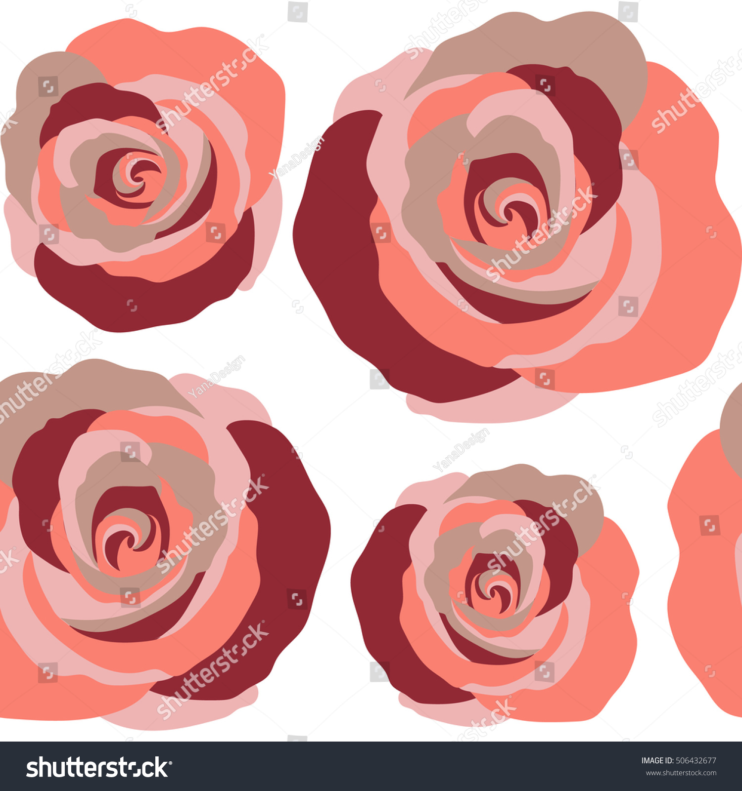 Abstract Background Composition Rose Flowers Red Stock Vector ...