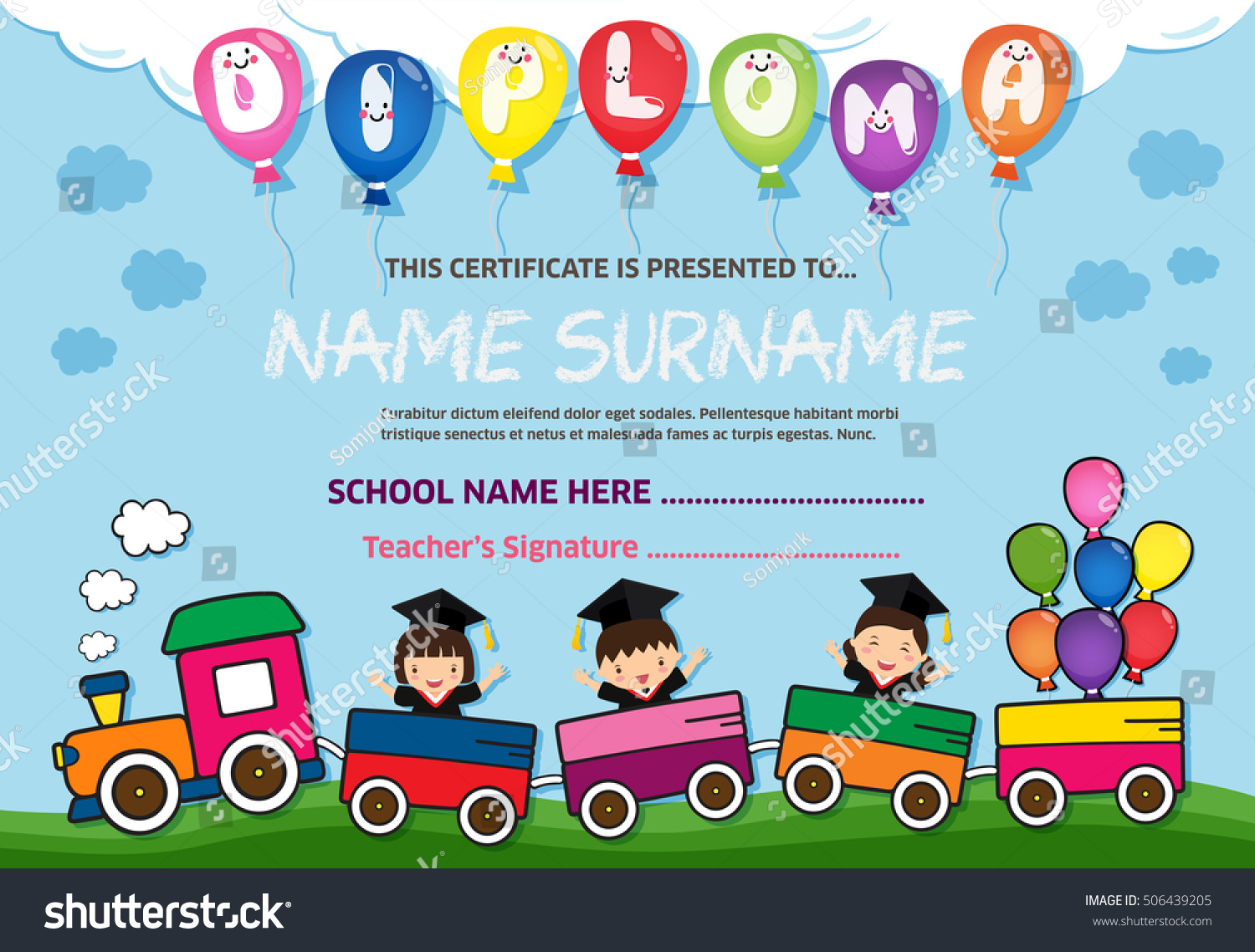 Kids Diploma Certificate Background Design Template Stock ...