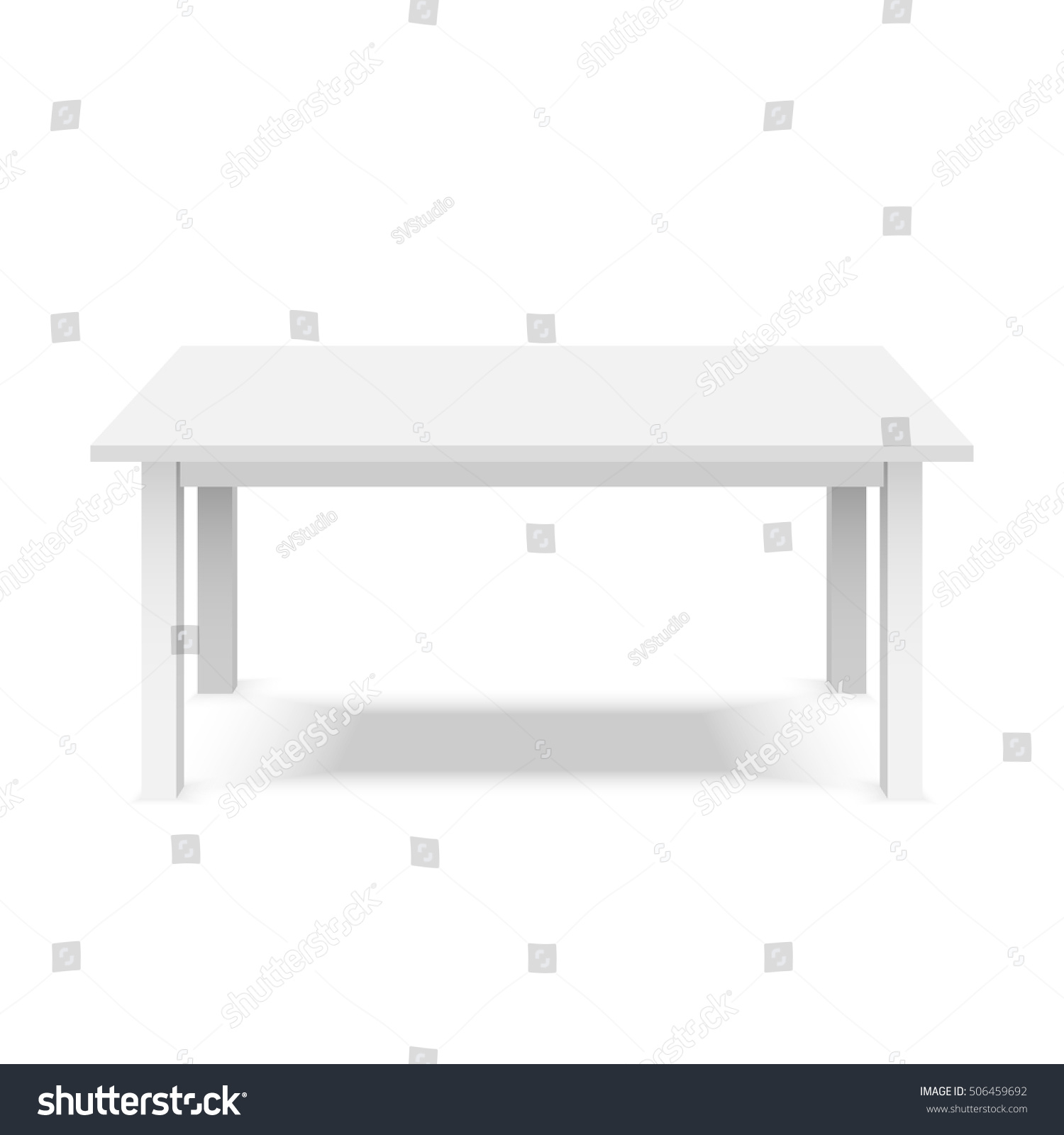 Empty Top Table White Plastic Table Stock Vector