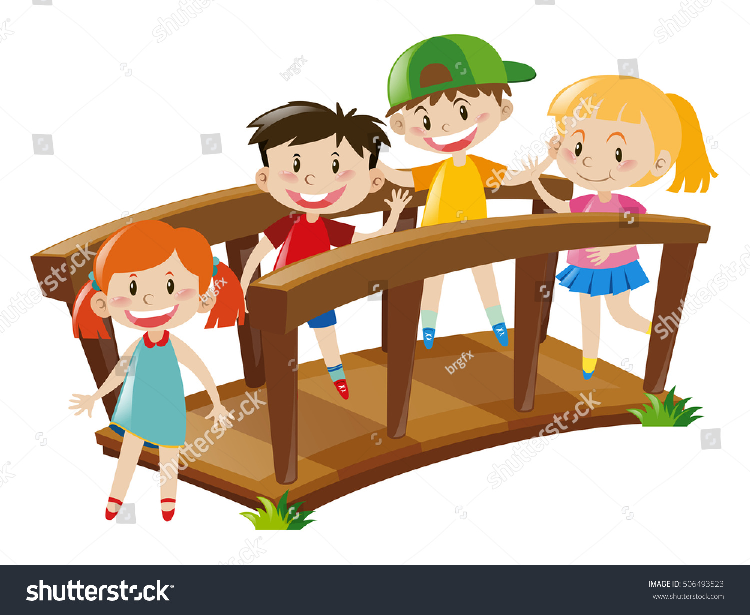 four kids crossing wooden bridge illustration stock vector picnic table images clip art picnic table clip art with trees