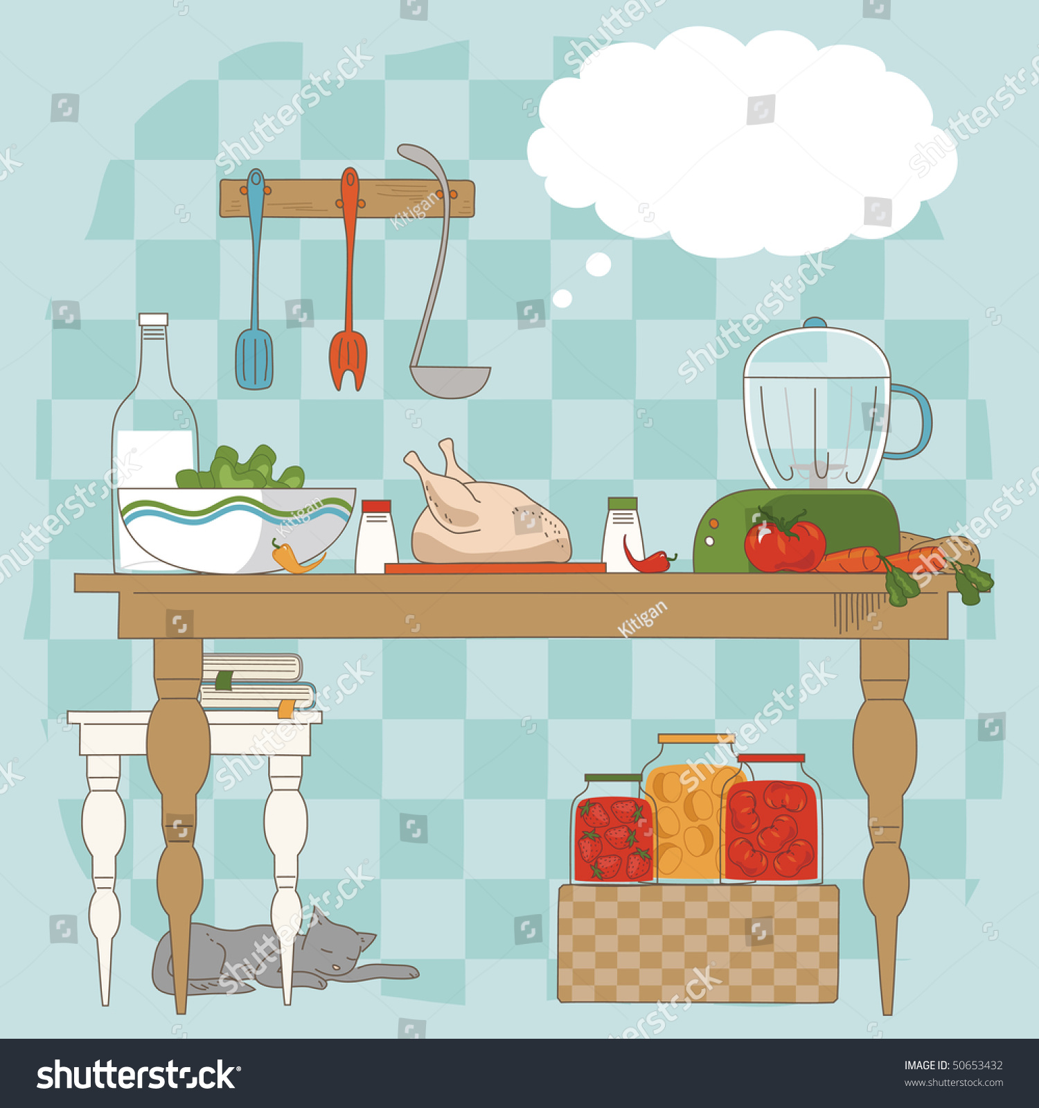 Cartoon kitchen table - Stock Vector Kitchen Table With Utensils And Ingredients For Cooking Jpg 1500x1600 Cartoon Table With Utensils