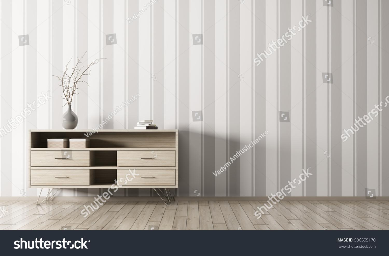 living room chest of drawers. Modern interior of living room with wooden chest drawers over striped  wallpaper wall 3d rendering Interior Living Room Wooden Chest Stock Illustration