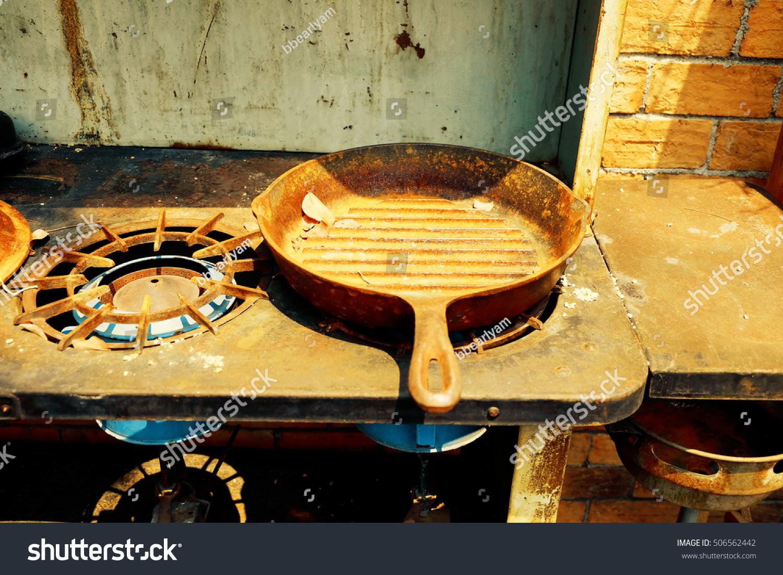 Vintage kitchenware - Vintage Kitchenware On A Kitchen Gas Stove