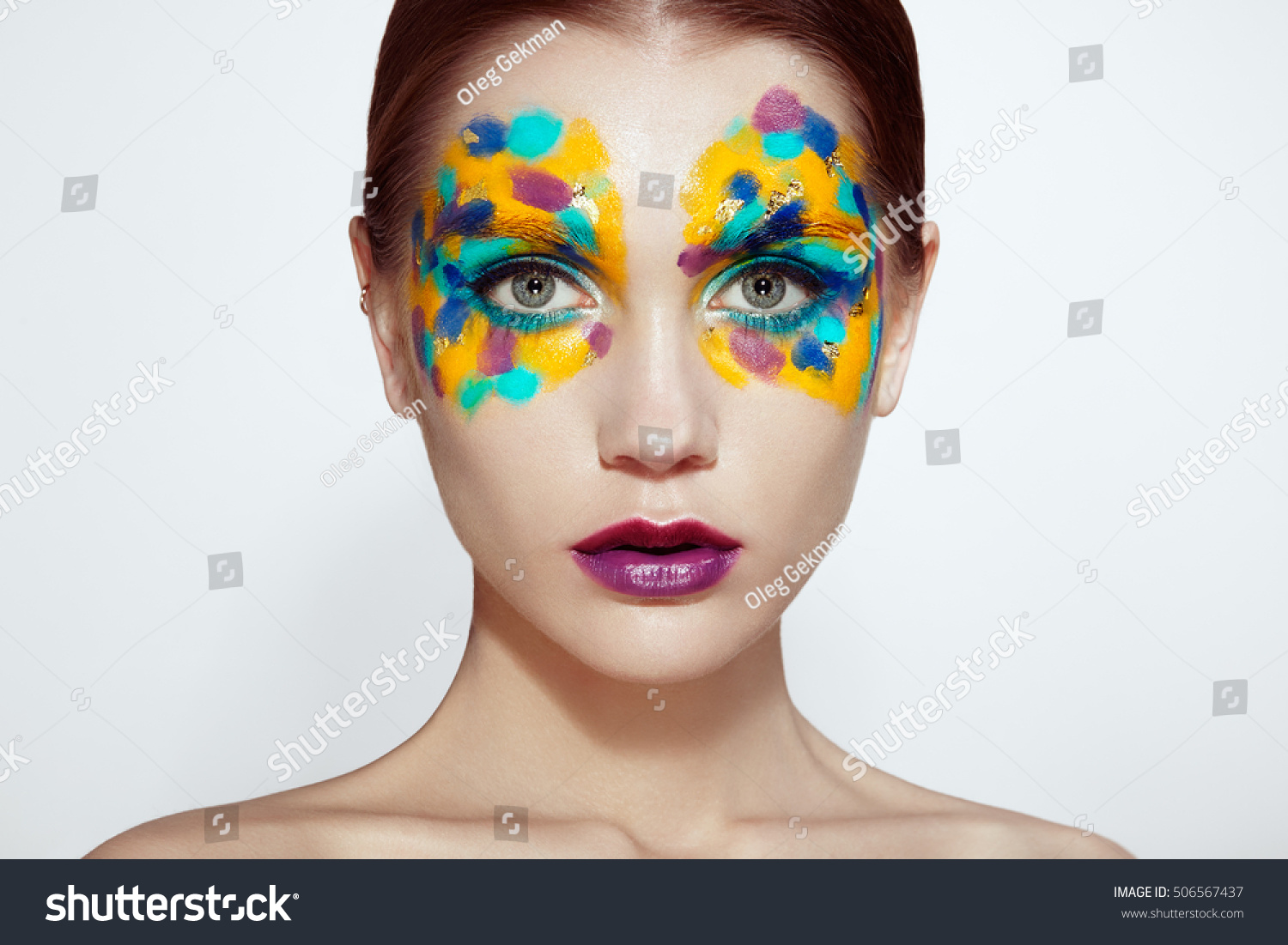 Beautiful Woman Face. Beauty Girl Face With Colorful