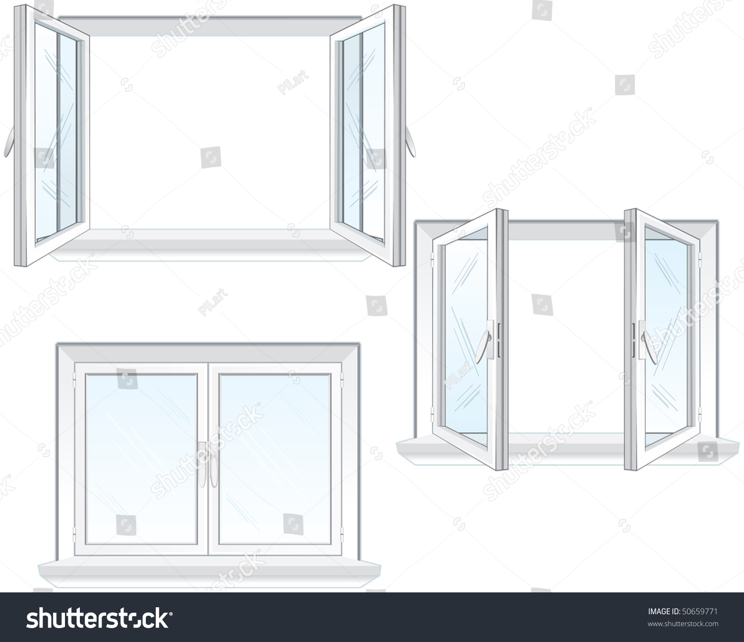 Closed Window Frame : Opened and closed window frame vector illustration