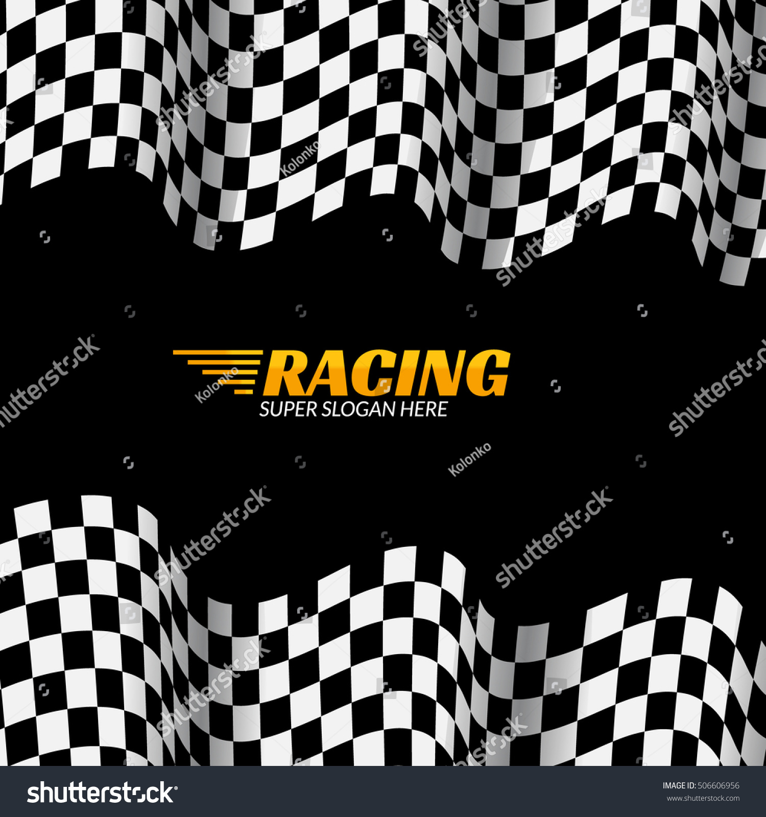 Racing background with race flag sport design banner or poster 506606956