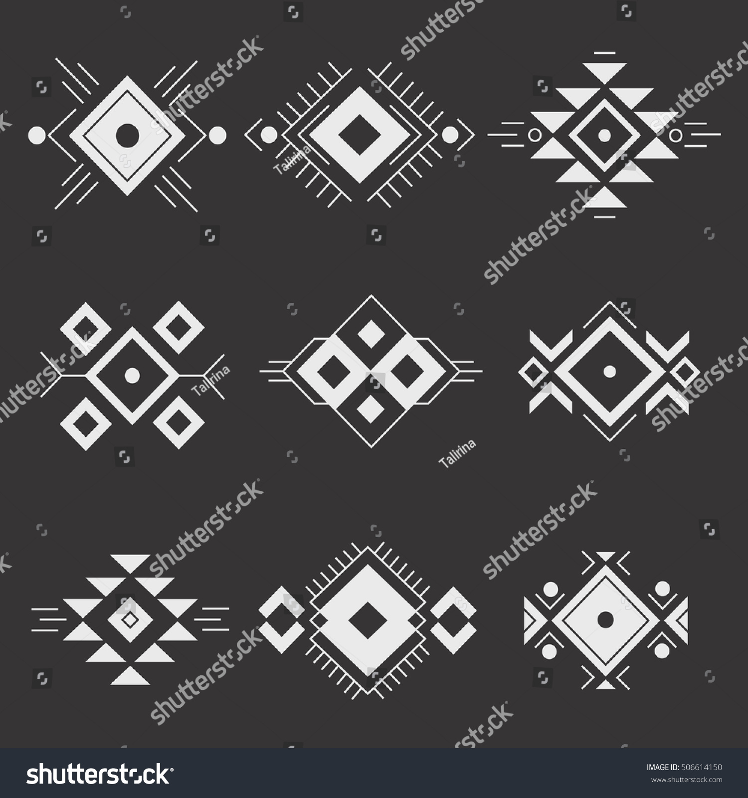 Abstract and geometric ornament, modern thin line icons,