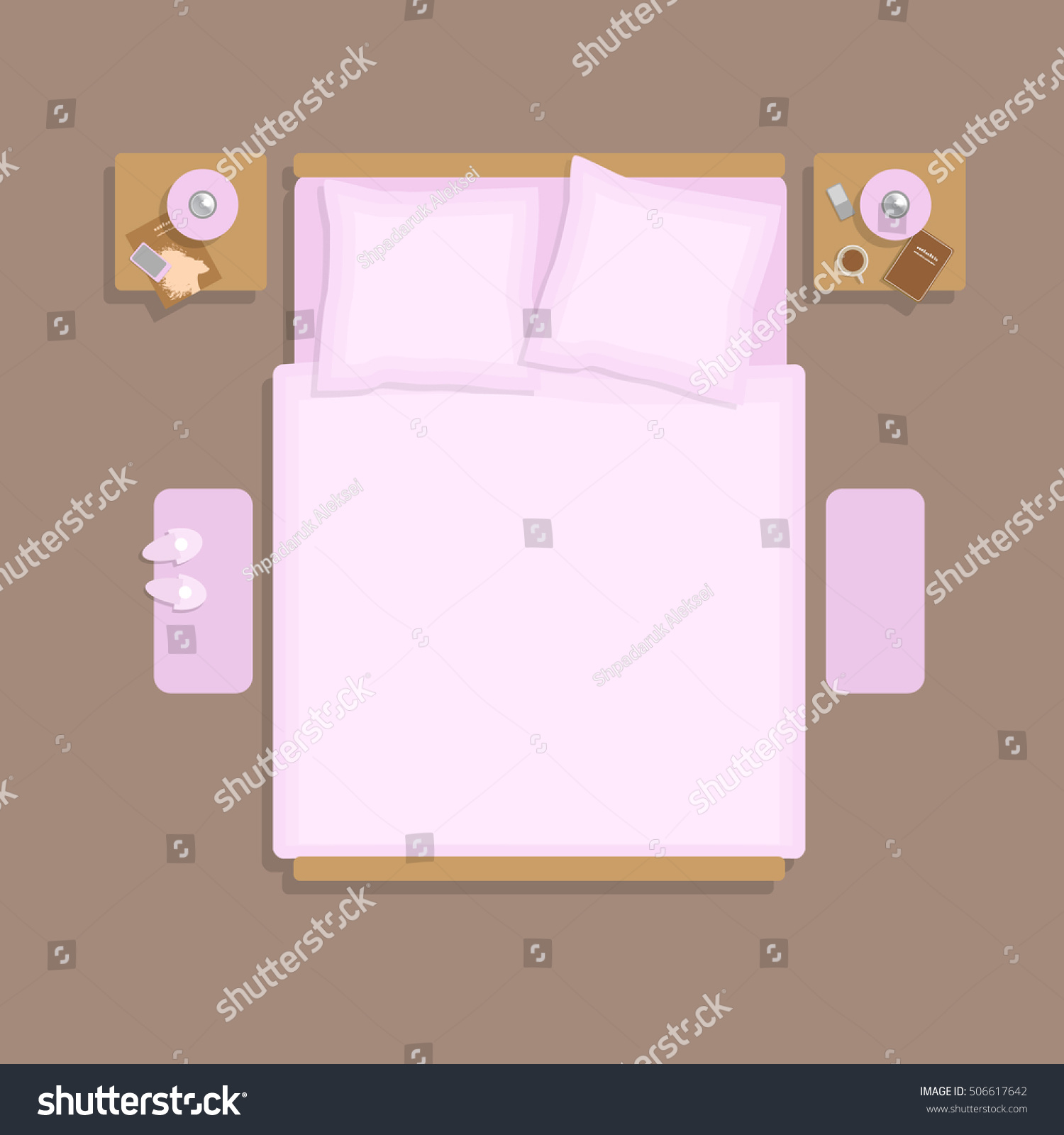 double bed top view. (top View) Double Bed With Bedside Tables. ( Top View