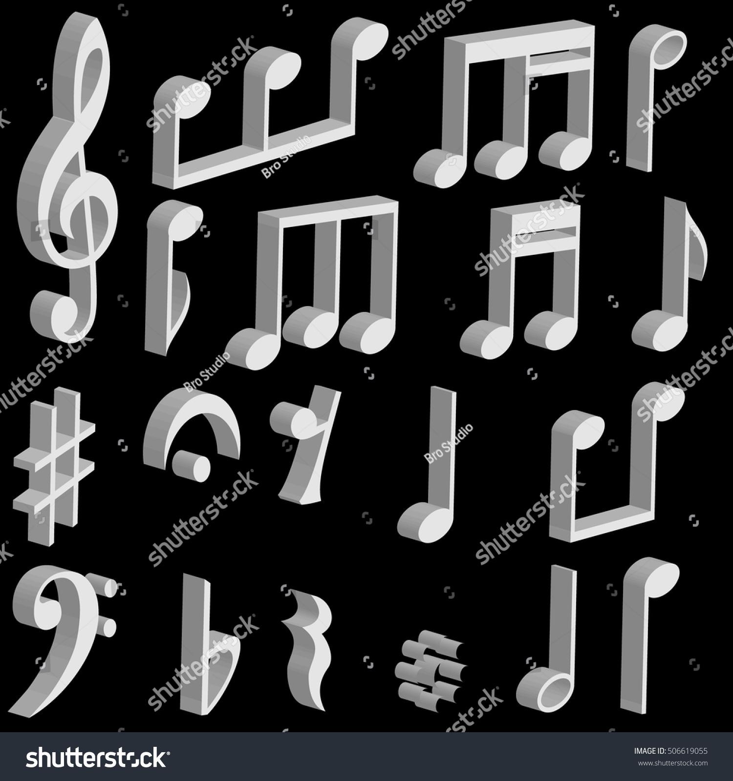 Set 3d music notes music symbols stock vector 506619055 shutterstock set 3d music notes and music symbols vector buycottarizona Gallery