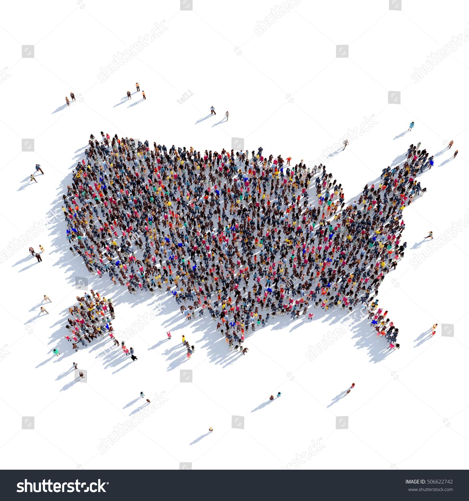 People Group Shape Map Usa Stock Illustration Shutterstock - Usa map shape