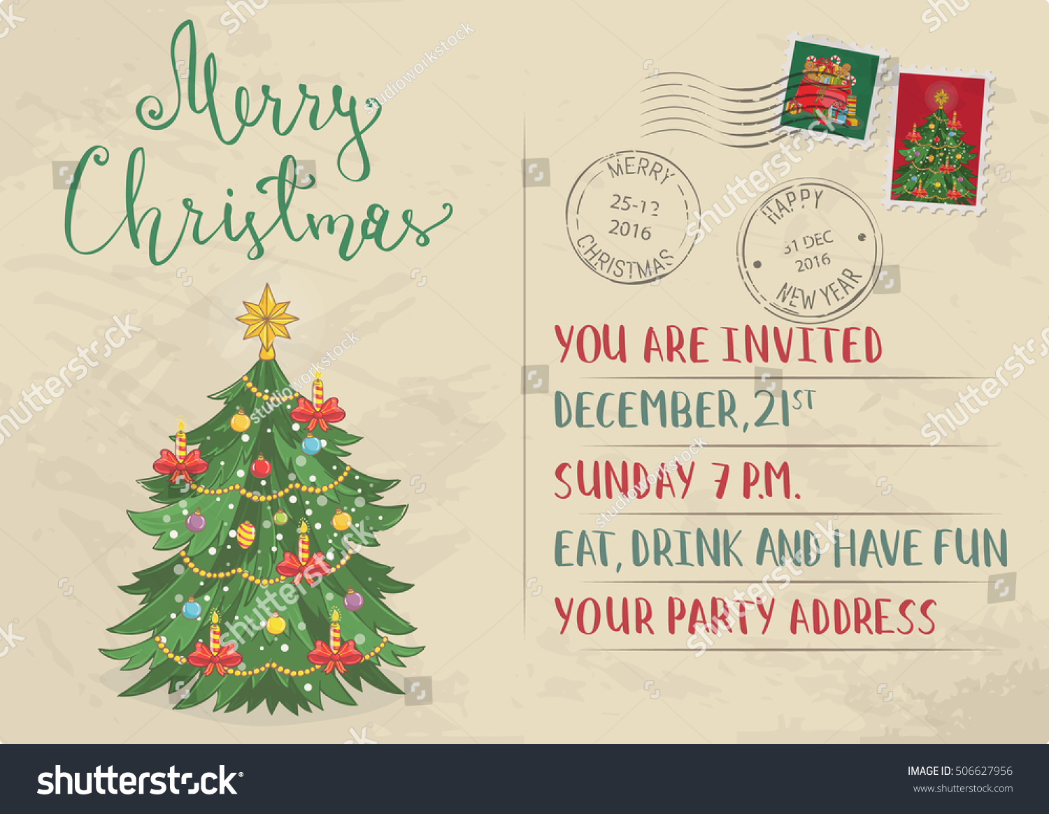 Christmas card vintage design vector merry stock vector 506627956 christmas card vintage design vector merry christmas and happy new year greetings card kristyandbryce Images