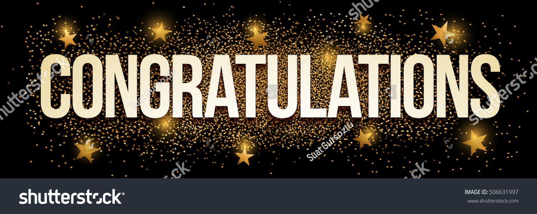 congratulations banner gold glitter vector illustration のベクター