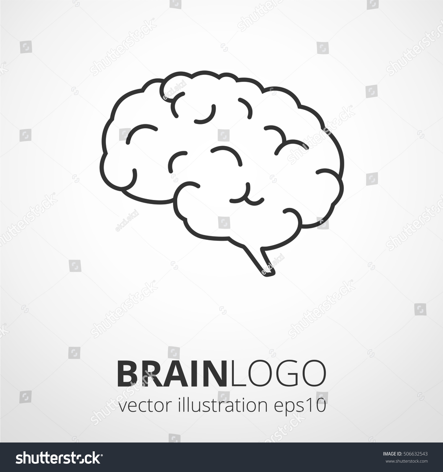 Simple human brain logo brain silhouette em vetor stock 506632543 simple human brain logo brain silhouette vector template brainstorm think idea logotype concept icon ccuart Gallery