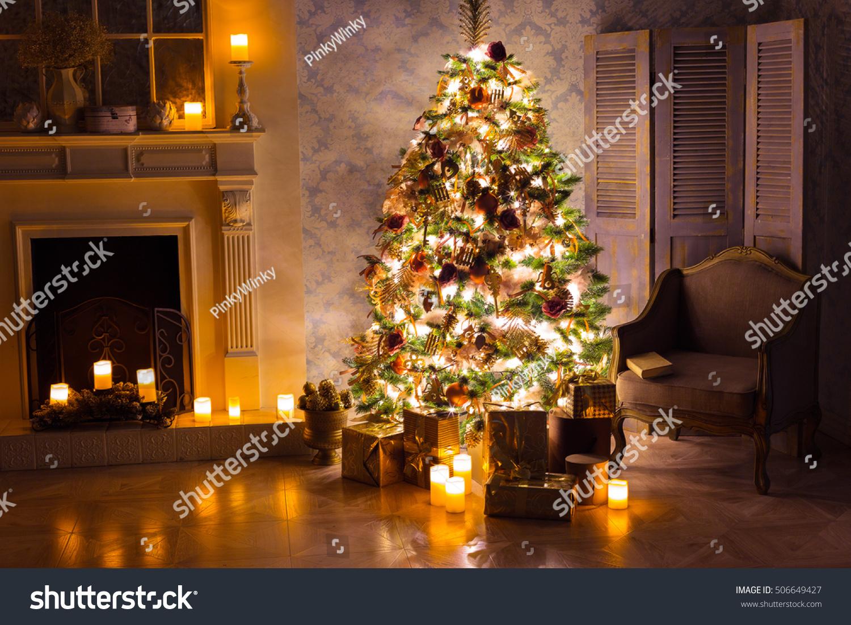 Luxury Interior Living Room Decorated Christmas Stock