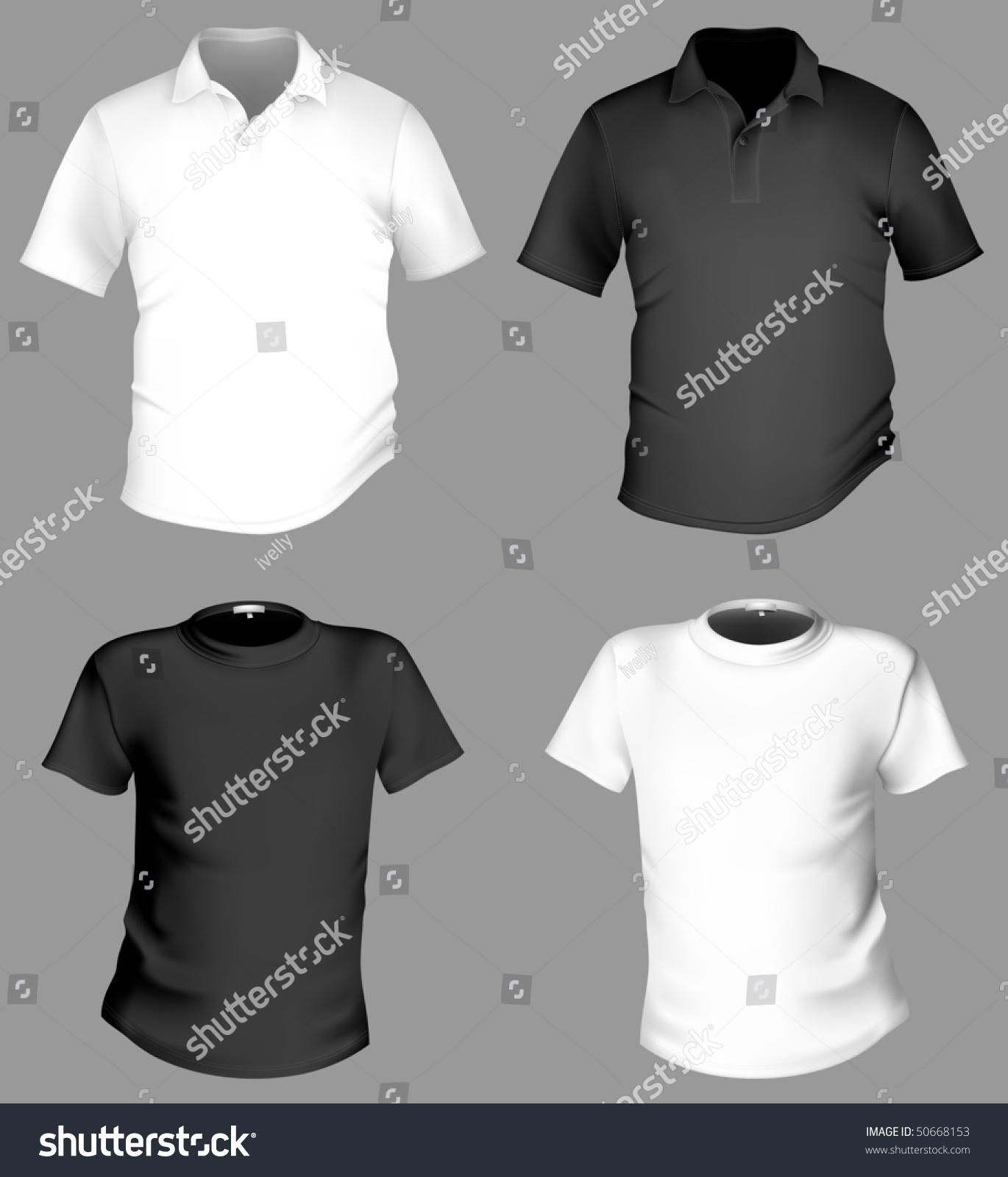Black t shirt template - Men S Black And White T Shirt And Polo Shirt Template