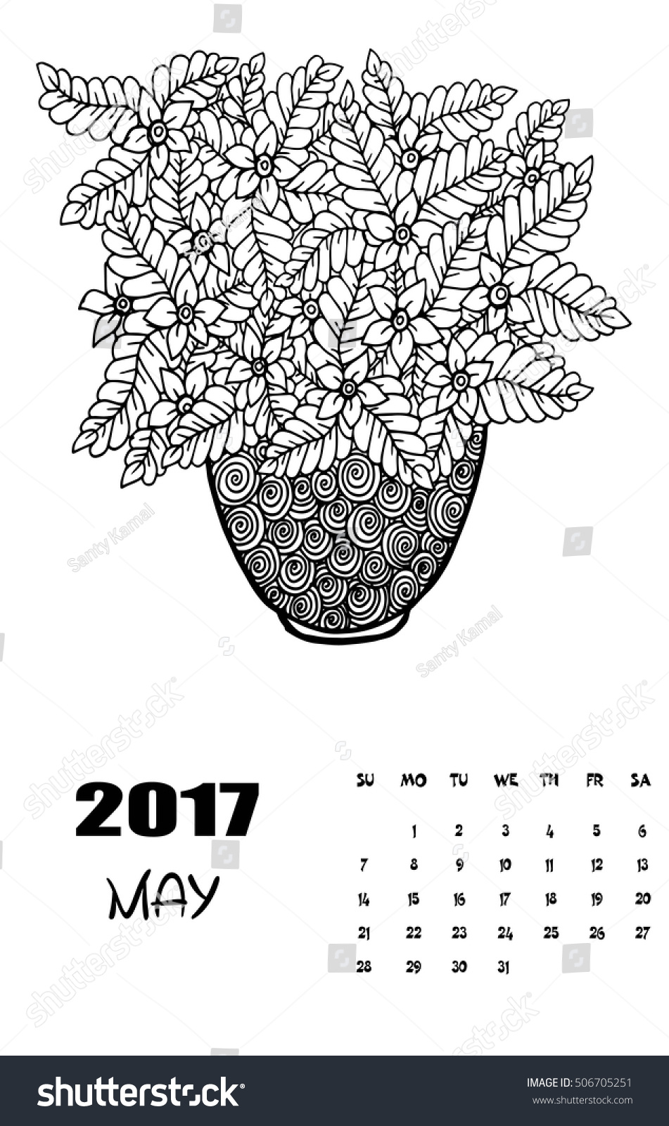 may 2017 calendar line art black stock vector 506705251 shutterstock