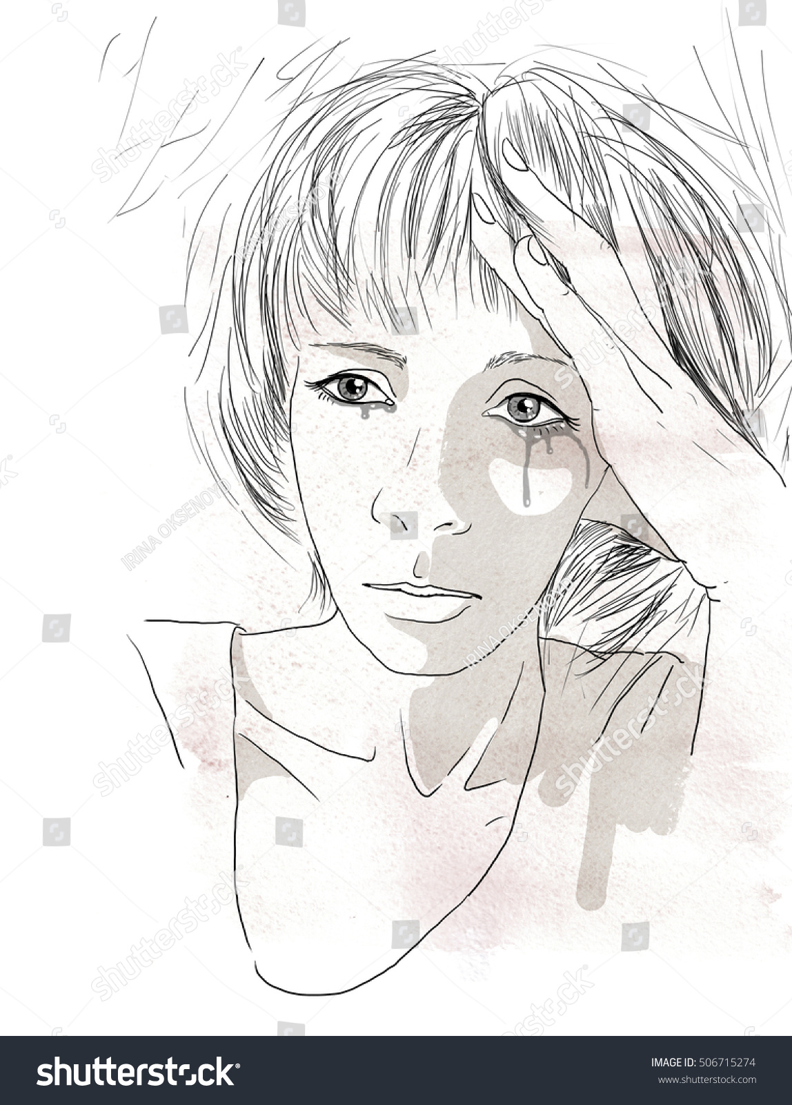 a portrait of a sad young woman crying drawn with black pen sketch
