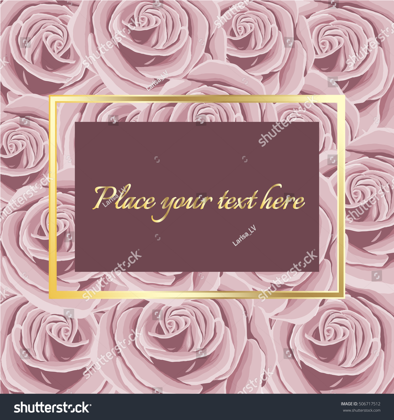 Wedding Invitation Pink Roses Background Golden Stock Vector (2018 ...
