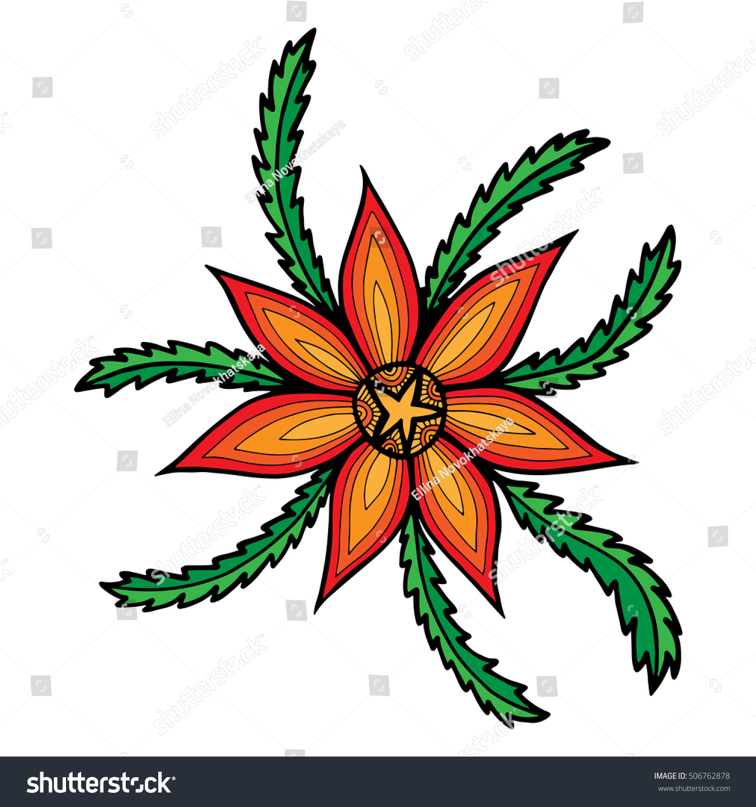 Orange Abstract Flower Leaves Adult Child Stock Vector 506762878 ...